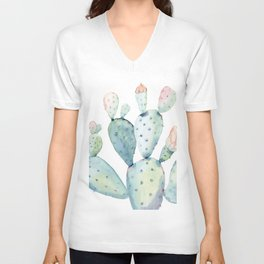 Pastel watercolor prickly pear cactus Unisex V-Neck