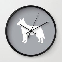 Australian Cattle Dog silhouette portrait dog pattern minimal grey and white Wall Clock