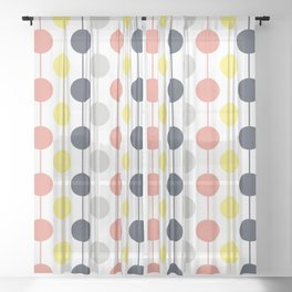 Colorful circles and stripes Sheer Curtain