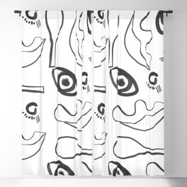 Eyes and nose and lips Blackout Curtain
