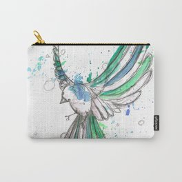 Charcoal & Watercolor Sparrow Carry-All Pouch