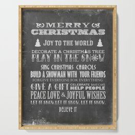 Christmas Chalk Board Typography Text Serving Tray