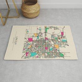 Colorful City Maps: Lincoln, Nebraska Rug