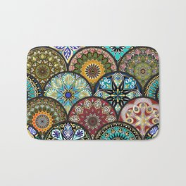 Colorful floral seamless pattern from circles with mandala in patchwork boho chic style Bath Mat