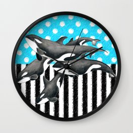 Artsy Orca Pod Blue Wall Clock