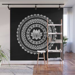 Black and White Lotus Mandala Wall Mural