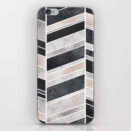 Shimmering Chevron Pattern - white pearl marble, silver and black iPhone Skin