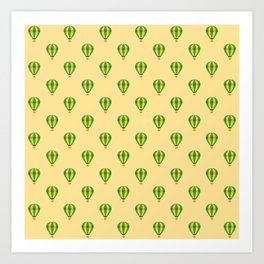 Green yellow strips air balloon with light brown background Art Print