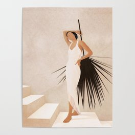 Minimal Woman with a Palm Leaf Poster