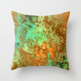 Rust patina abstract painting Throw Pillow