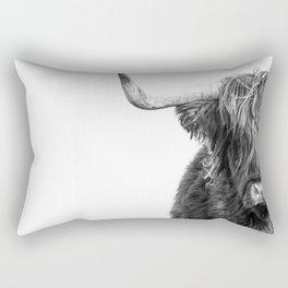 Highland Cow Portrait - Black and White Rectangular Pillow