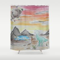 dinosaurs Shower Curtains featuring Dinosaurs' Downfall by Wetherall