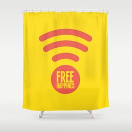 Free Happiness Square Yellow  Shower Curtain