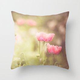 Pink Poppy Throw Pillow