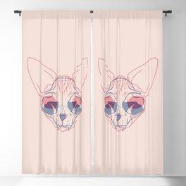 Sphynx Cat Skull Double Exposure - Overlay Hairless Kitty Illustration Blackout Curtain