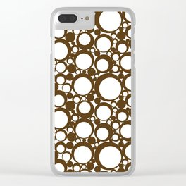 Brown Geometric Abstract Modern Circle Art Clear iPhone Case