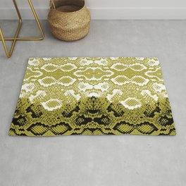Snake skin scales texture. Seamless pattern black yellow gold white background. simple ornament Rug