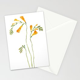 orange freesia watercolor Stationery Cards