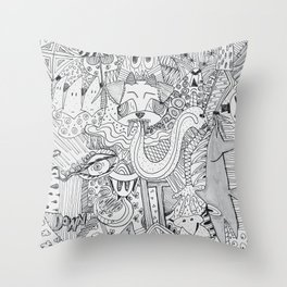 Monsters In My Closet Throw Pillow