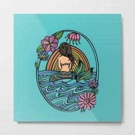 Turquoise Sunset Mermaid Metal Print