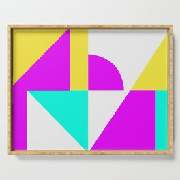 Mondrian style vivid colors high resolution fine art for home decor. Serving Tray