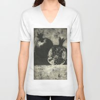 pomegranate V-neck T-shirts featuring Pomegranate by Christian K. Harger