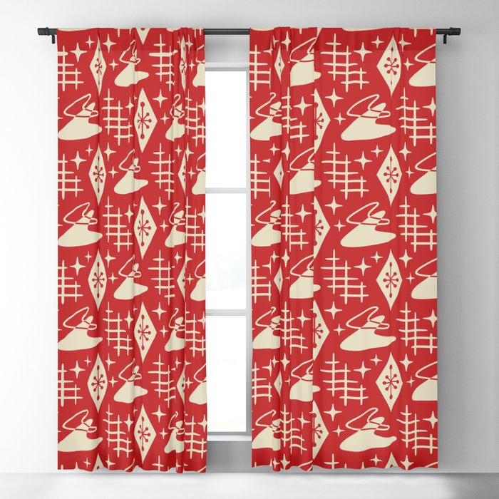Mid Century Modern Boomerang Abstract Pattern Red and Tan 261 Blackout Curtain
