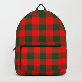 Jumbo Holly Red and Balsam Green Christmas Country Cabin Buffalo Check Backpack