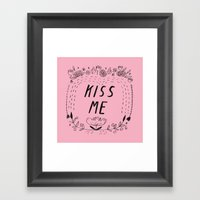 Kiss Me - Pink Framed Art Print