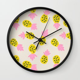 Pineapple Party – Pink & Yellow Wall Clock