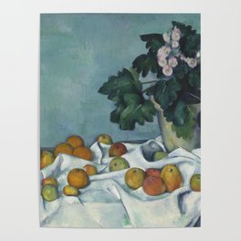 Still Life with Apples and a Pot of Primroses Poster