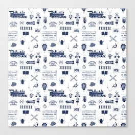 Railroad Symbols // Navy Blue Canvas Print