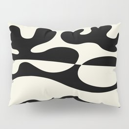 Mid Century Modern Organic Abstraction 235 Black and Linen Pillow Sham