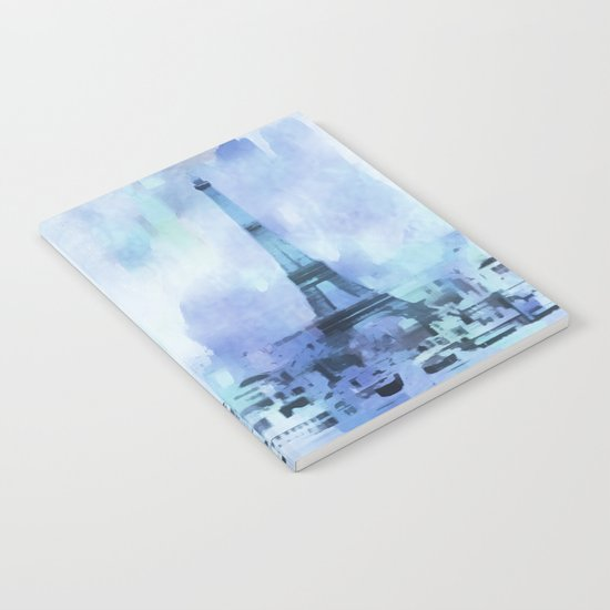 Blue Eifel Tower Paris France abstract painting Notebook
