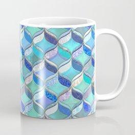 Patchwork Ribbon Ogee Pattern in Blues & Greens Coffee Mug