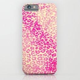 Modern Pink Yellow Watercolor Cheetah Animal iPhone Case