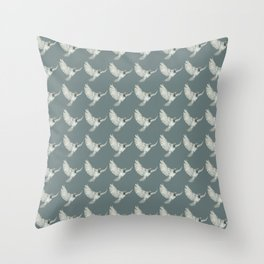 Pattern: Sparrow on blue-grey Throw Pillow