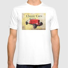 Classic Cars White Mens Fitted Tee MEDIUM