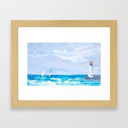 Rounding the Lighthouse Framed Art Print