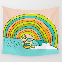 Rad Surf Kitty Tastes the Rainbow Single Fin Longboard Wall Tapestry