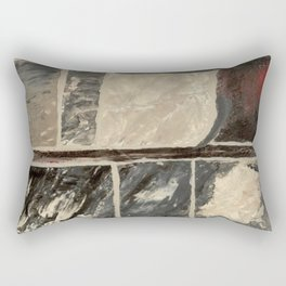 Textured Marble Popular Painterly Abstract Pattern - Black White Gray Red Rectangular Pillow
