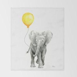 Elephant Watercolor Yellow Balloon Whimsical Baby Animals Throw Blanket