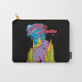 Funny Catzilla Cat Is My Valentine Retro Vintage Carry-All Pouch