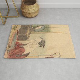 Hokusai, the toilet of a woman- manga, japan,hokusai,japanese,北斎,ミュージシャン Rug