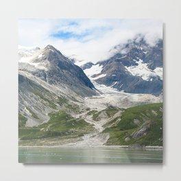Alaskan Massive Glacier Flow Between Majestic Mountains Metal Print