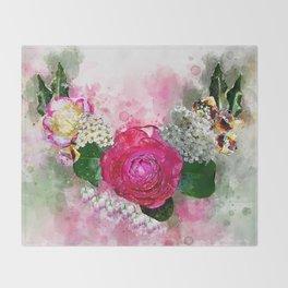 Wreath of flowers Throw Blanket