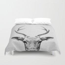 Deer - Black & White Duvet Cover