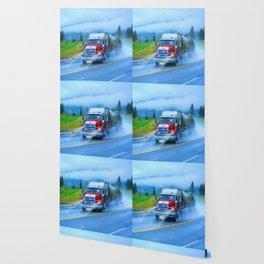Driving Rain IV - Highway Truck in Rainstorm Artwork Wallpaper