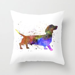 Short Haired Dachshund 01 in watercolor Throw Pillow