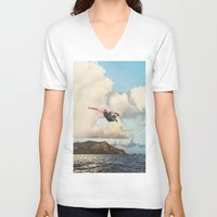 fall V-neck T-shirts featuring Fall by Sarah Eisenlohr